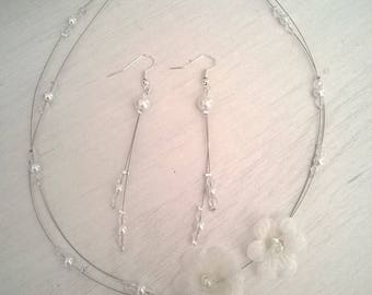 bridal set wedding necklace jewelry set and small White Pearl Earrings white swarovski crystal bicones