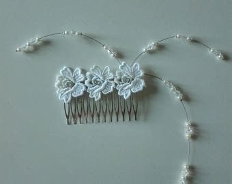 pearls white lace wedding bridal comb white / transparent pearls hair bun evening ceremony