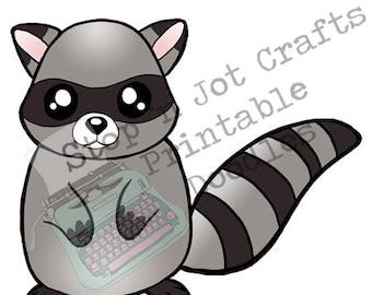Kawaii Raccoon Printable Die Cut Sticker