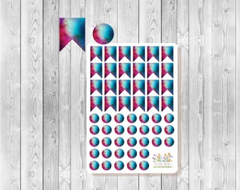 S041 - 55 Galaxy Flag & Dot Planner Stickers - Blue, Red, Purple