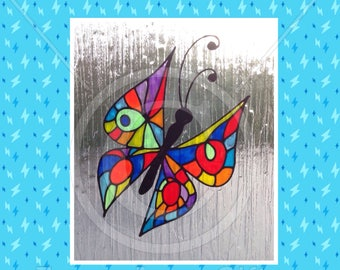 Butterfly decorative window cling, hand painted for glass & mirror surfaces, reusable static cling faux stained glass decal