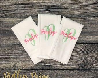 Personalized Baby Burp Cloths, Monogrammed Burp Clothes, Baby Shower Gift, Burp Cloth Set, Newborn Baby Burp Cloths, New Baby Gift Set