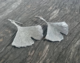 Large Ginkgo Leaf Earrings | Botanical Jewelry | Sterling Silver Japanese Gingko Leaf Earrings | Nature Inspired Jewelry | Boho Earrings