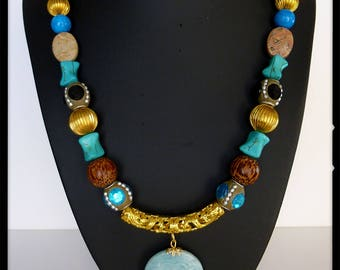 "Necklace ethnic ""Rio Grande"" crew neck, gold metal, turquoise stones, Jasper, pearls Kashmiri beads plant"
