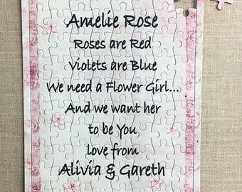 Personalised Jigsaw Will you be my Flower Girl Bridesmaid Gift Puzzle W295