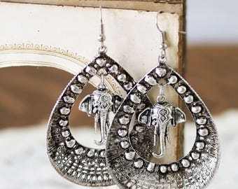 Elephant Jewelry- Silver Elephant Earrings - Large Hoop Earrings - Gypsy Earrings - Gift for Boho Lover - Statement Earrings for Her