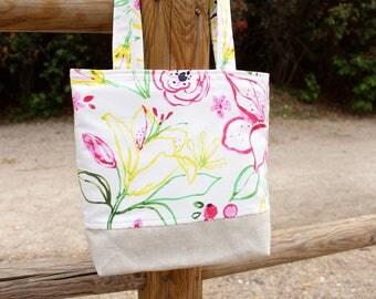 Sac pour sœur Sac cabas handmade à bandoulières sac à main Motif fleurs tropicales Sac épaule Sac cabas Cadeau d'été pour femme
