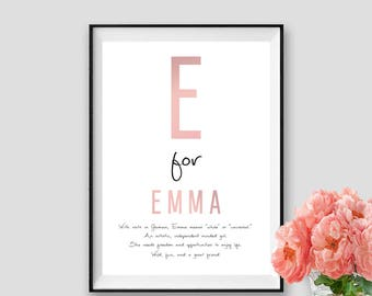 Emma Custom Name DIGITAL Name Meaning Gift Name Art PRINTABLE Name Meaning Instant Download Personalised Gift Idea Kis gift newborn Name