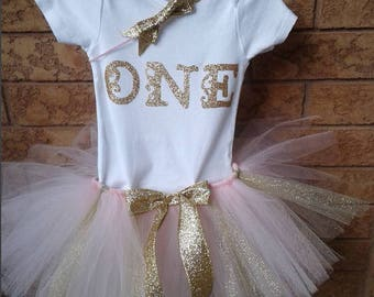 Pink and Gold Tutu Outfit