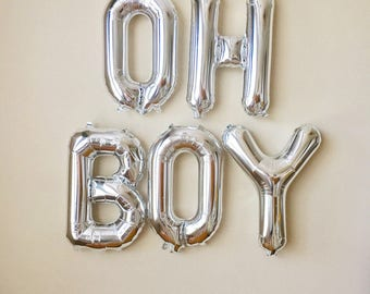 Oh Boy Silver Letter Balloons~Baby Shower Balloons~Oh Baby~Baby Boy Shower~ Its a Boy~Oh Boy Silver Banner~Boy Baby Shower Decorations