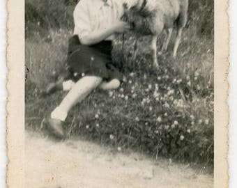 Vintage photo Lady and Sheep Posing, vernacular photos snapshot woman with sheep animal, outdoors animals Found Photo, country