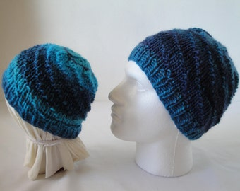 adult and child hats, blue-multi caps, wool knit beanies, set of two hats, turquoise knit caps, winter warmers, hats in two sizes, beanies