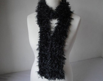 faux ostrich boa, grey skinny scarf, vegan tippet, long thin scarf, dark gray boa, faux feather scarf, feather effect boa, gift for women