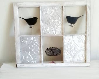 Antique window art - Bird and nest home decor - Gray decorations - Six pane window - Refurbished furniture - Real antique art - Painted bird
