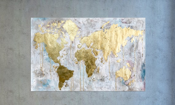 Map of the world Gold Leaf Art Painting on Canvas World Map