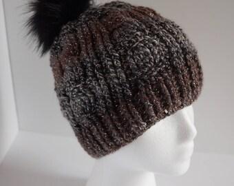 Cable Crochet Beanie, Fur Pom Pom, Fur Pom Hat, Crochet Hat, Winter Hat, Women's Hat, Women's Beanie, Pom Pom Hat, Cable Hat, pompom