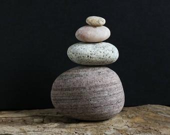Set of Stones for Rock Balancing - Relaxation Gift - Mindfulness - Baltic Sea Quartz - Small Zen Sculpture - Meditation Altar