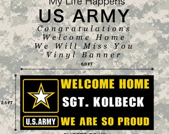 ARMY - Graduation, Welcome Home, We Will Miss You - Vinyl Banner