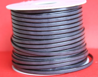 MADE in EUROPE 1 yard of 5mm flat leather cord, genuine leather 5mm strip, flat gray 5mm leather cord (221/05/40)