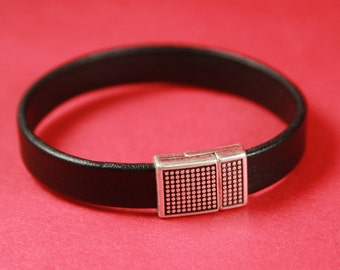 5B/9 MADE in EUROPE zamak magnetic clasp, 10mm flat cord clasp, flat leather cord magnetic clasp, polka magnetic clasp (78887/10) Qty1