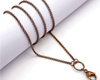 Chocolate 316L Surgical Stainless Steel 2mm O-Ring Necklace.