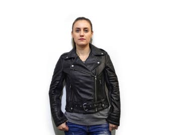 Black Leather Moto Jacket F738