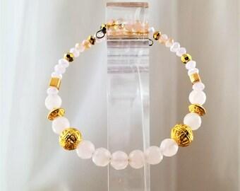 Dainty Rose Quartz Bracelet, Bangle, Untreated Natural Gemstones Crystal