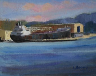 Small Painting, Small Oil Painting, Wisconsin, Boat painting, Plein Air, Gift for him, Small Art, Original Oil on Canvas Art Sue Whitney