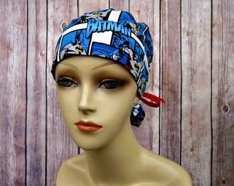 Womens Surgical Scrub Caps - Ponytail Scrub Hat - Scrub Caps - Batman