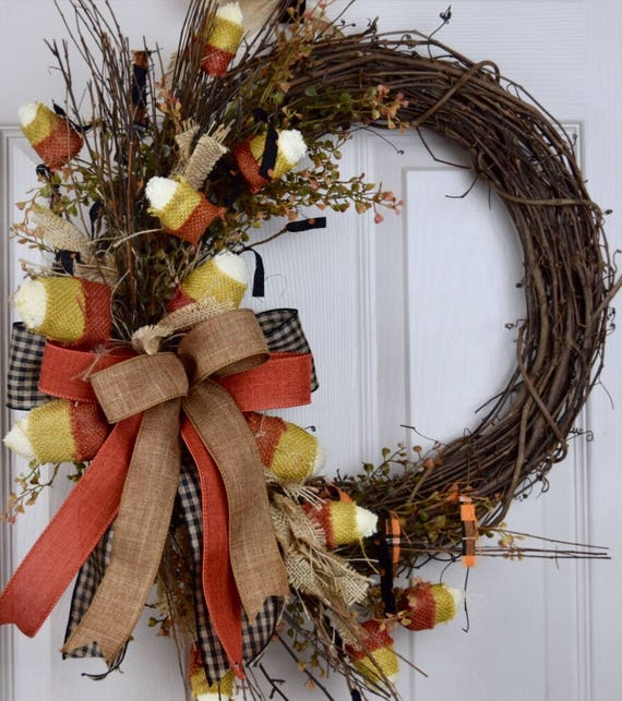 Candy Corn Rustic Fall Grapevine Wreath with Bow and Baby Grass; Autumn Wreath Decor; Fall Door Decor; Primitive Thanksgiving Decor Wreath