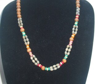 Multi-Color Wood Beaded Necklace