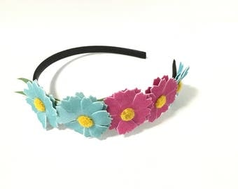 Blue flower crown, pink flower crown, flower girl headband, headband, hair accessory, girl headband, spring, flower headband, women,