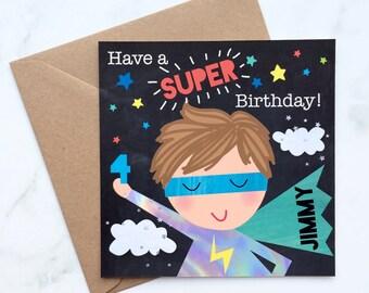Super Boy Card, Card for a Super Boy, Boy's Birthday Card, Super Hero Birthday Card, Little Boy's Card, Super Card, Hero Card, Boy Hero