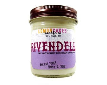 Rivendell - Book Candle - Bookish Candle - 8oz Soy Candle - LemonCakes Candle Co - Ancient Tomes, Peony, & Cedar