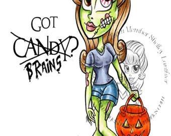 Digital Stamp, Digi stamp, Digi, Digistamp, Halloween Digi, zombie digi, zombie trick or treat, Zombie Zannie Digi