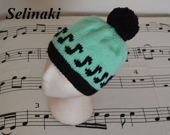 Knit Music Notes Mint Green Hat Beanie with Pom Pom