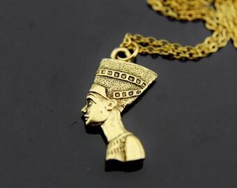 Nefertiti Necklace Gold Queen Nefertiti Jewelry Egyptian Necklace Egyptian Jewelry Gold Nefertiti Pendant Necklace Nefertiti Charm Jewelry