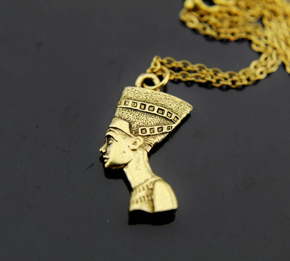 Womens gift nefertiti necklace gold queen nefertiti charm like this item mozeypictures Choice Image