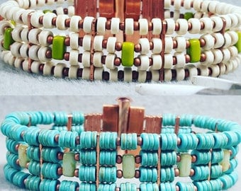 Bracelet, Turquoise Bracelet, Turquoise and copper bracelet - Ava Bracelet Seyoum Design