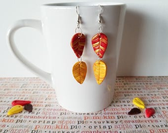 Leaf Earrings - Leaf Jewelry - Gold Leaf - Polymer Earrings - Fall Earrings - Woodland Jewelry - Dainty Earrings - Delicate Earrings
