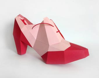 Paper model kit etsy for High heel shoe template craft