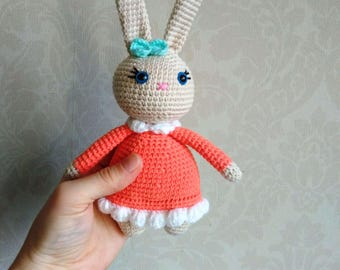 Unique gifts by lorensdolls on etsy easter bunny doll crochet toy stuffed bunny crochet bunny rabbit stuffed rabbit easter gift for kids negle Choice Image