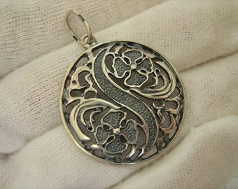 SOLID 925 Sterling Silver Pendant Flower Floral National Ukrainian Pattern Made In Ukraine Adornment Jewelry Oxidized Blackened Darkened