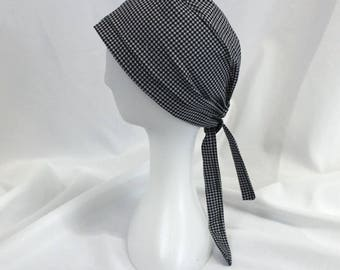 Gray and Black Houndstooth Surgical Scrub Cap Dental Chemo Hat