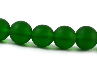 Recycled Cultured Sea Glass Round Beads Dark Bottle Green 10mm