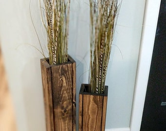 "Set of 24"" and 28"" Tall Rustic Floor Vases, Wooden Vases, Home Decor, Decorative Vase, Distressed Wood Vase, Wedding Decor"