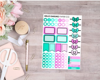 Mint and Pink Stickers, Weekly Kit, 1 Page Weekly Kit, 1 Sheet Weekly Kit, Mini Kit, Stickers for, Erin Condren Planner, EC, Agenda, 128