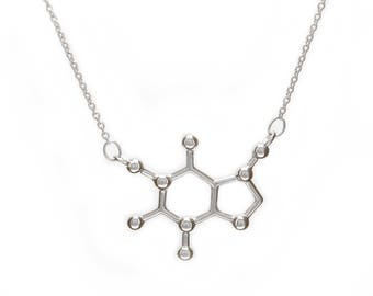 Caffeine Molecule Necklace 925 Sterling Silver Rhodium Roségold 18K Gold Plating Pendant by Serebra Jewelry