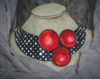 Polka dots Statement necklace,Bib necklace,polymer clay necklace,modernist jewelry ,choker necklace, black red white necklace, boho necklace
