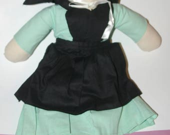 """AMISH Dressed Stuffed Cloth DOLL 19"""" Tall Painted Face with Apron , Cap & Bonnet"""